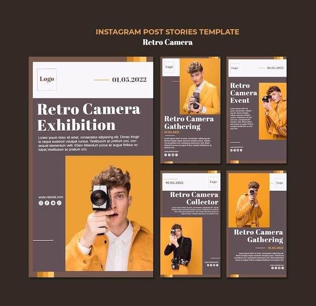 Retro kamera instagram geschichten vorlage Kostenlosen PSD