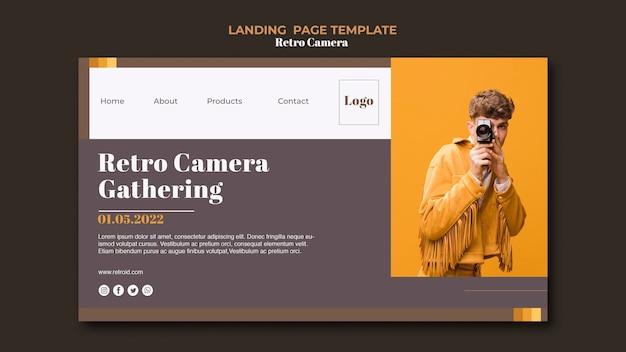 Retro kamera landing page style Kostenlosen PSD