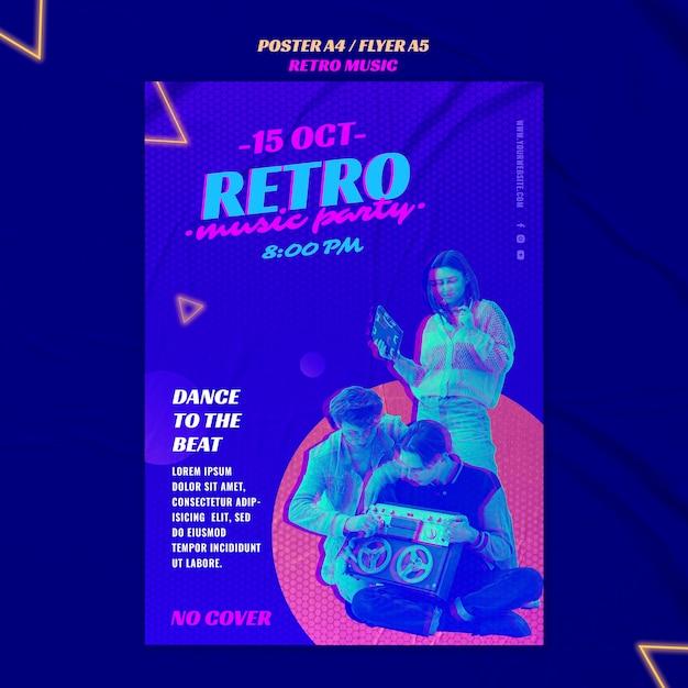 Retro musikparty flyer vorlage Kostenlosen PSD