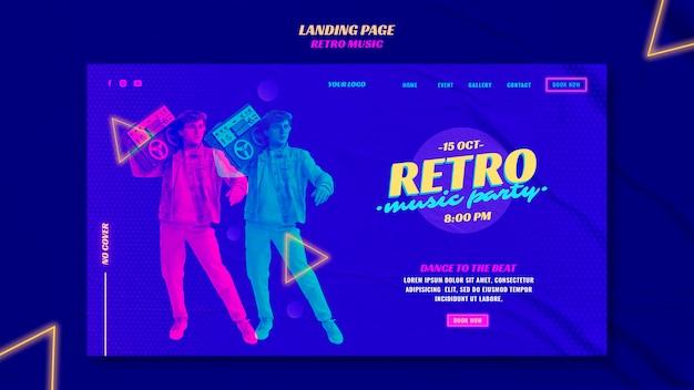 Retro musikparty landingpage vorlage Premium PSD