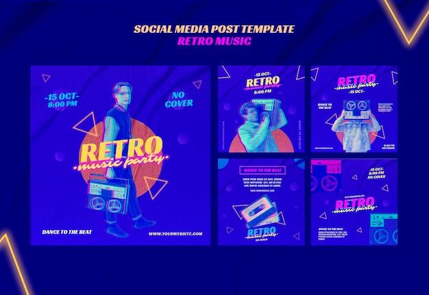 Retro musikparty social media post vorlage Kostenlosen PSD