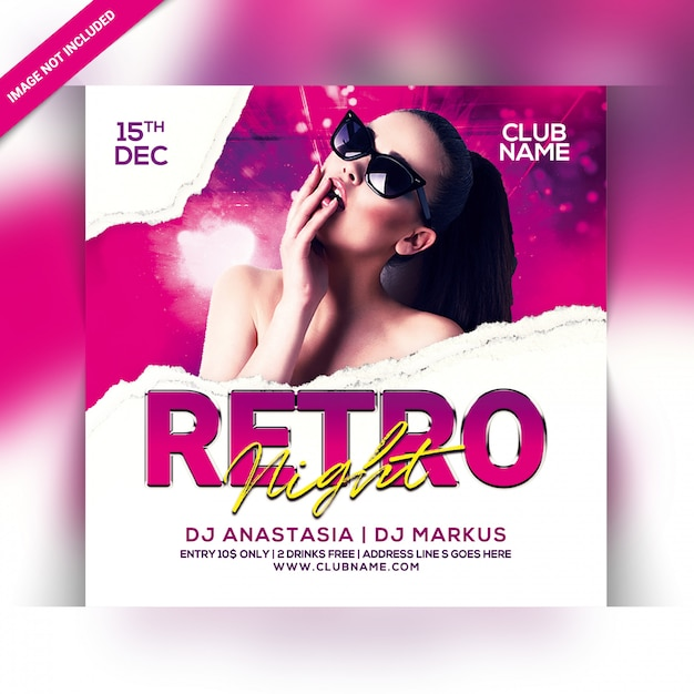 Retro nacht party flyer Premium PSD