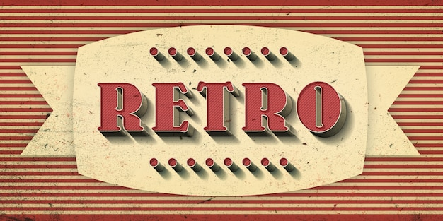 Retro-text-effekt Premium PSD