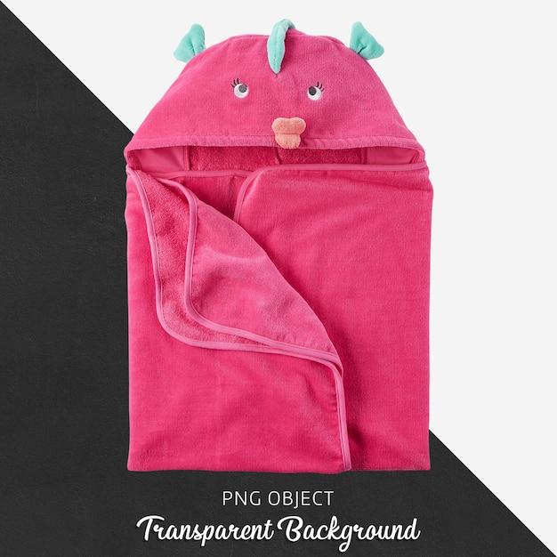 Rosa baby- oder kindertuch, bademantel auf transparentem hintergrund Premium PSD