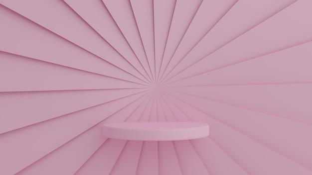 Rosa farbpodest der abstrakten geometrieform auf rosa farbhintergrund für produkt. minimales konzept. 3d-rendering Premium PSD
