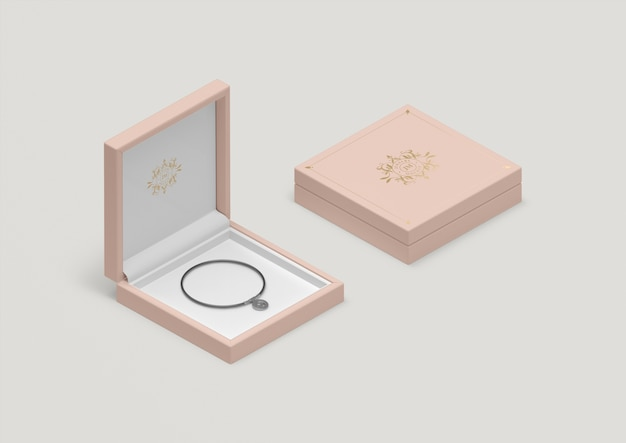 Rosa schmuckschatulle mit hohem winkel und schwarzem armband Kostenlosen PSD