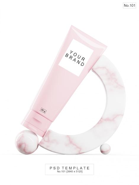 Rosa schönheitsprodukt mit rosa marmorstein. 3d render Premium PSD