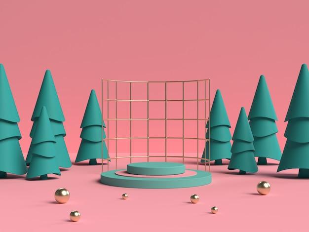 Rosa und grünes 3d-rendering des podiums der abstrakten szenengeometrieform für produktanzeige Premium PSD