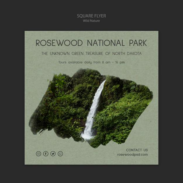 Rosenholz nationalpark flyer vorlage mit wasserfall Kostenlosen PSD