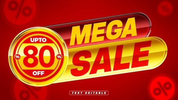 Rot und gelb 3d glänzendes abzeichen mit mega sale co 80% rabatt Premium PSD
