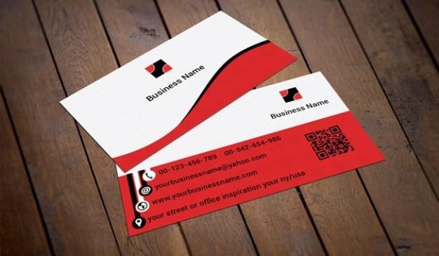 Rot Und Weiß Visitenkarte Vorlage Kostenlose Psd Datei