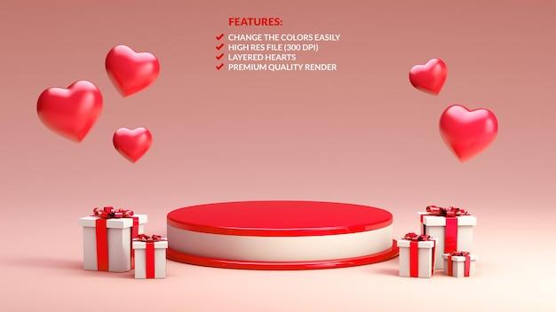 Rot-weiß-podium zum valentinstag in 3d-rendering für objektpräsentation Premium PSD