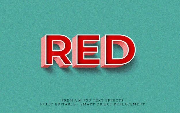 Rote art-effekt psd des textes 3d Premium PSD