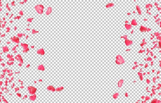 Rote fallende herzen ausschneiden Premium PSD