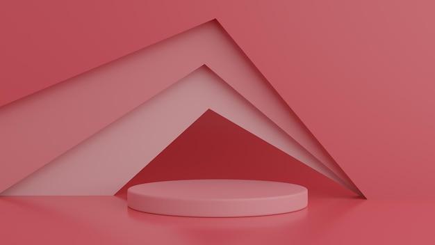 Rote farbe podium der abstrakten geometrieform in der 3d-wiedergabe Premium PSD