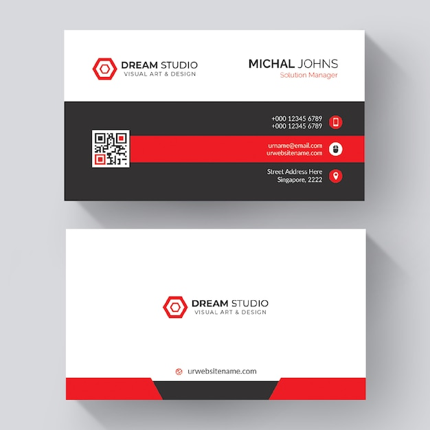 Rote form visitenkarte Premium PSD
