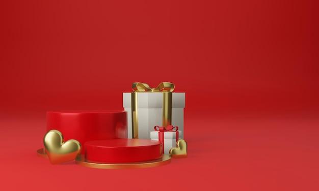 Rote podestplattform mit herz und geschenkboxen Premium PSD