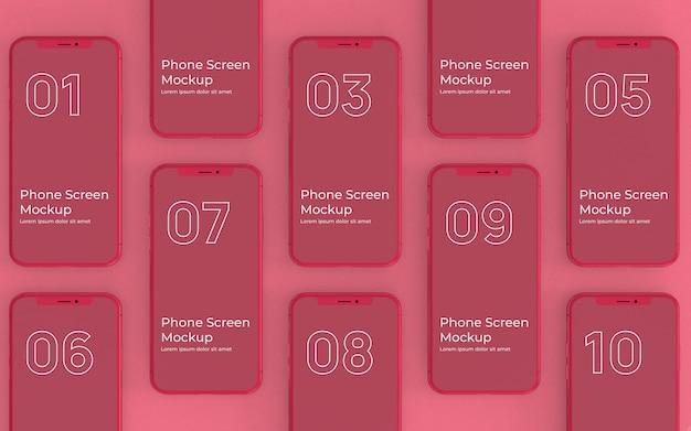 Rote telefonbildschirme mockup-draufsicht Premium PSD