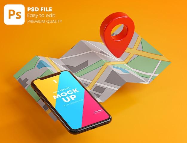 Roter gps-pin auf smartphone und kartenmodell beim 3d-rendering Premium PSD