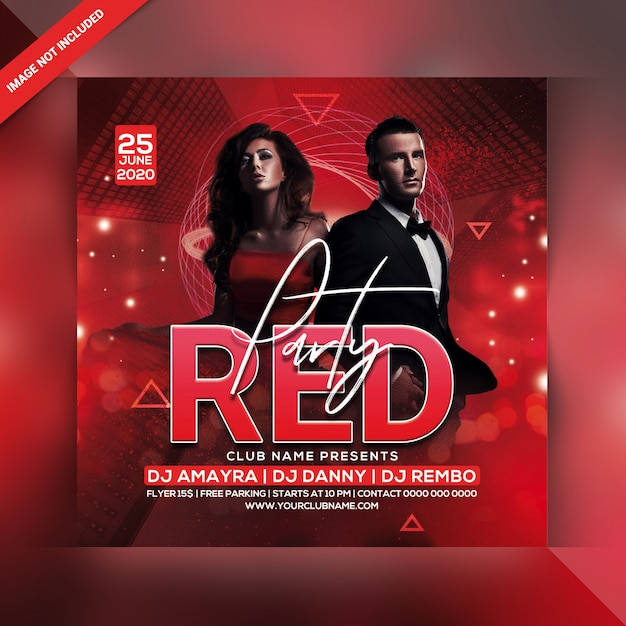 Roter party flyer Premium PSD