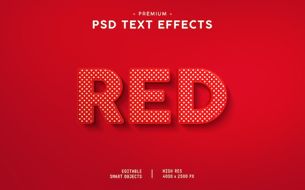 Roter texteffekt Premium PSD