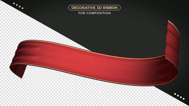 Rotes 3d-band mit realistischer textur für die komposition Premium PSD
