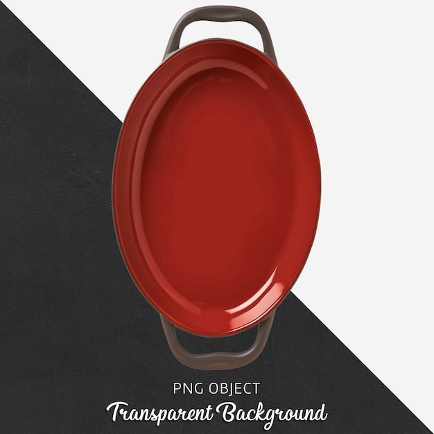 Rotes geschirr mit griff in ellipse Premium PSD