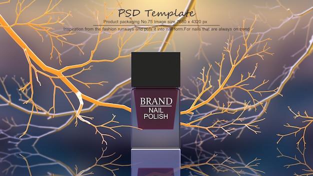 Rotes nagellackprodukt auf gelbem baumhintergrund 3d übertragen Premium PSD