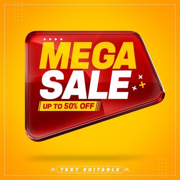 Rotes super sale 3d-banner Premium PSD