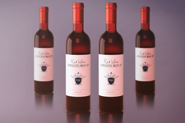 Rotwein-flaschen-modell Premium PSD