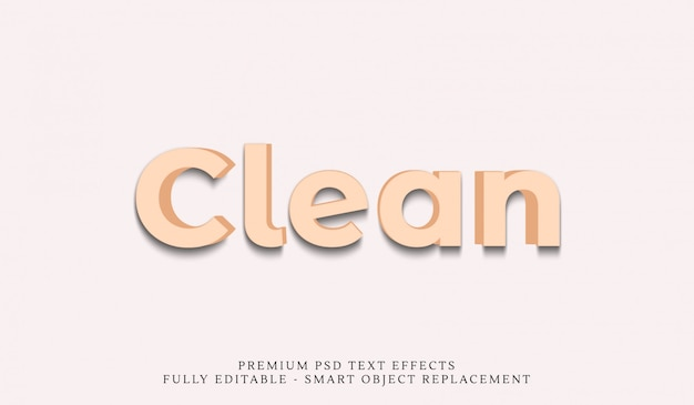 Säubern sie art-effekt psd des textes 3d Premium PSD