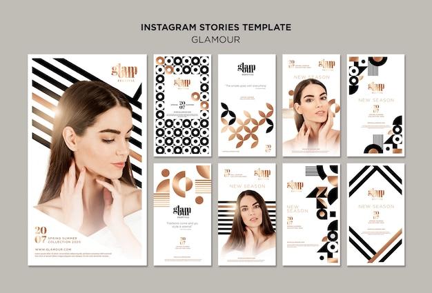 Sammlung moderner glamour-instagram-geschichten Premium PSD