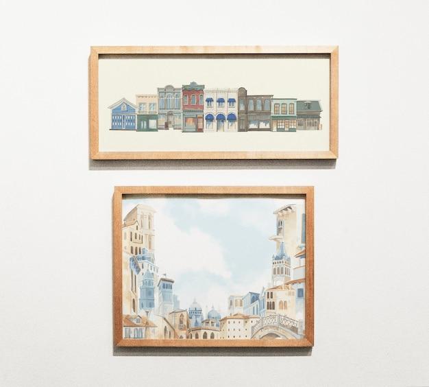 Sammlung von kunstwerken an der wand Kostenlosen PSD