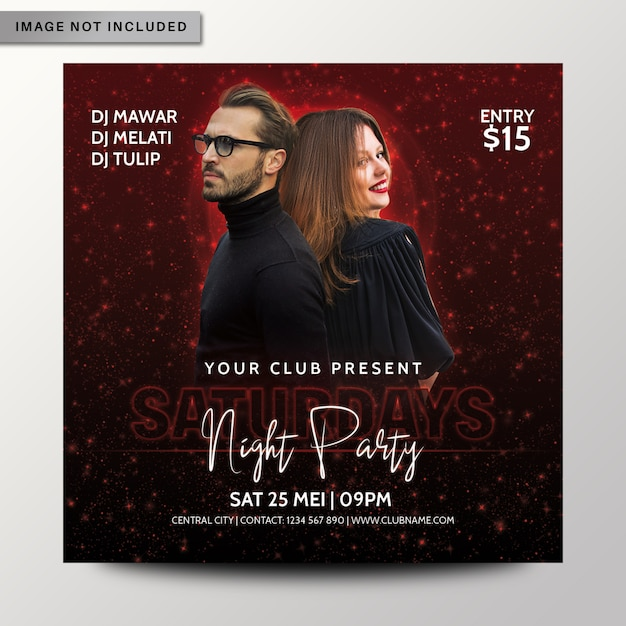 Samstag nacht party flyer oder poster vorlage Premium PSD