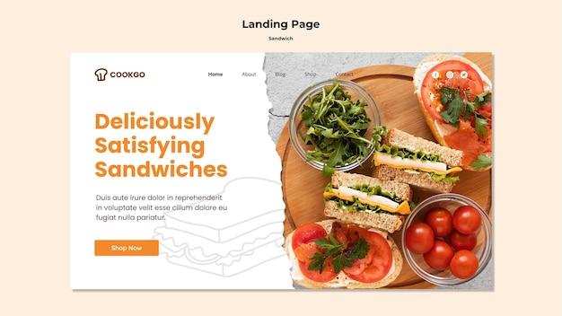 Sandwich konzept landing page vorlage Kostenlosen PSD