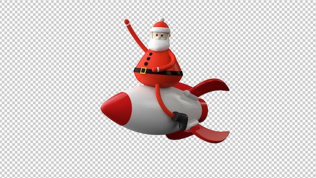 Santa claus charakter isoliert in 3d-illustration Premium PSD