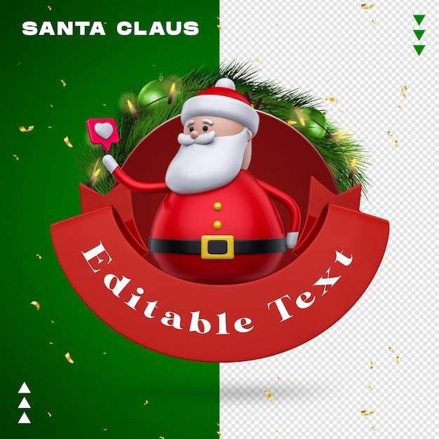 Santa claus garland wie beim 3d-rendering Premium PSD