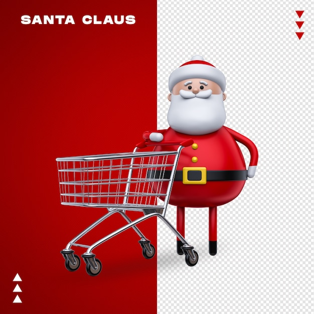 Santa claus supermarkt cart in 3d-rendering Premium PSD