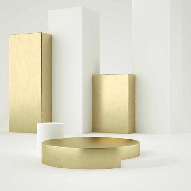 Sauberes weißgoldproduktsockel, goldrahmen, gedenktafel, abstraktes minimalkonzept, leerzeichen, sauberes design, luxus. 3d-rendering Premium PSD