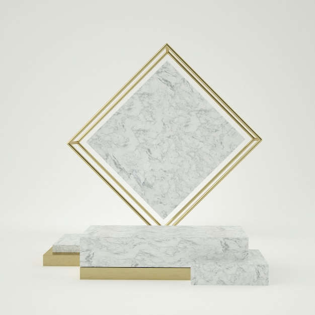 Sauberes weißgoldproduktsockel, goldrahmen, gedenktafel, abstraktes minimalkonzept, leerzeichen, sauberes design, luxus. 3d rendern Premium PSD