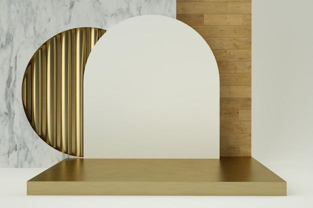 Sauberes weißgoldproduktsockel, goldrahmen, gedenktafel, abstraktes minimalkonzept Premium PSD