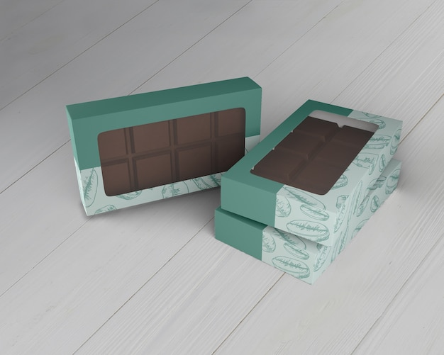 Schachtel mit schokoladendesign-modell Kostenlosen PSD