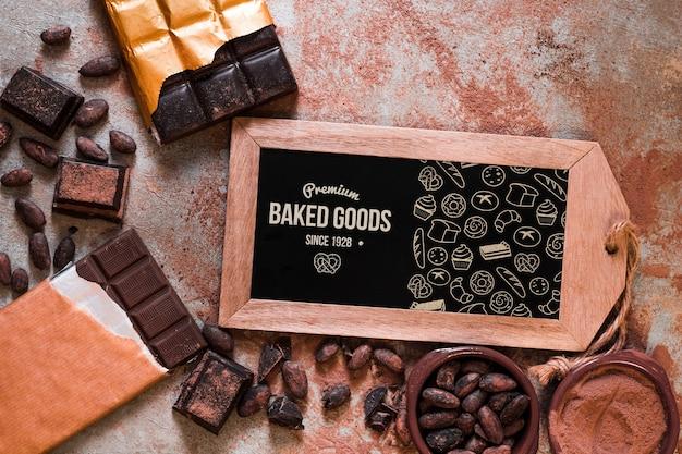 Schiefermodell mit schokoladenkonzept Kostenlosen PSD