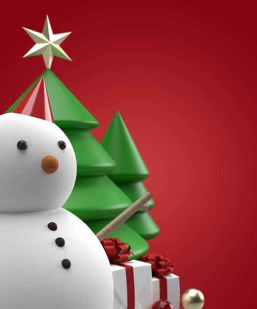 Schließen sie herauf weihnachtsschneemann mit baum und geschenk 3d rendering Premium PSD