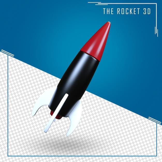 Schließen sie oben auf raketen-3d-rendering isoliert Premium PSD