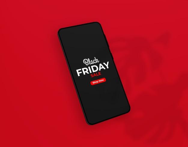 Schließen sie oben auf schwarzem freitag smartphone-modell Premium PSD