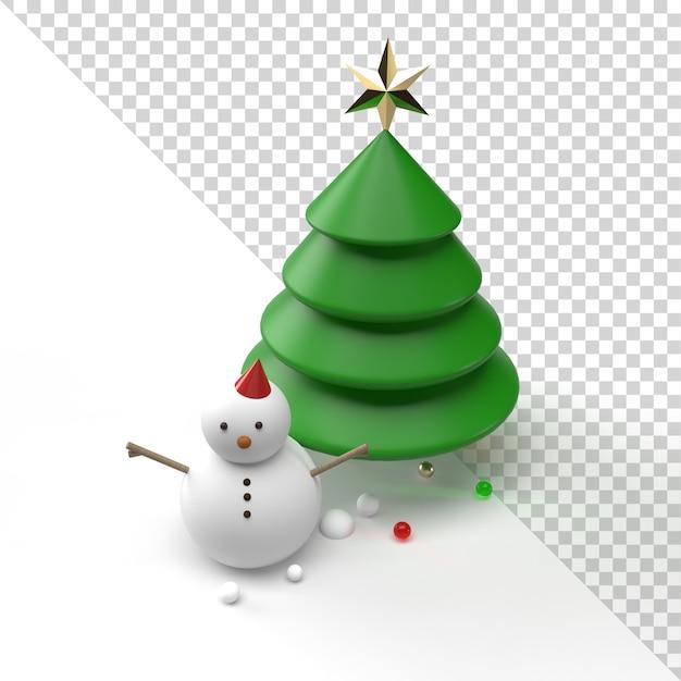 Schneemann und weihnachtsbaum lokalisiert in der 3d-darstellung Premium PSD