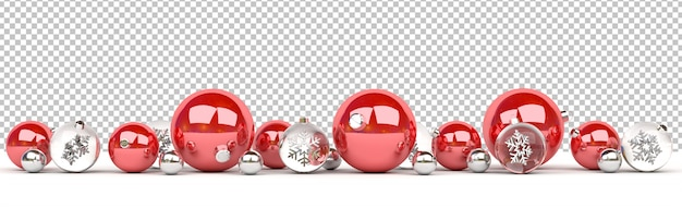 Schneiden sie den lokalisierten rot und glasweihnachtsflitter aus, die ausgerichtet werden Premium PSD