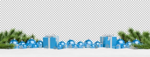 Schneiden sie die blauen weihnachtsflitter und -geschenke aus, die ausgerichtet werden Premium PSD