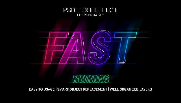 Schnell laufende texteffektvorlage Premium PSD